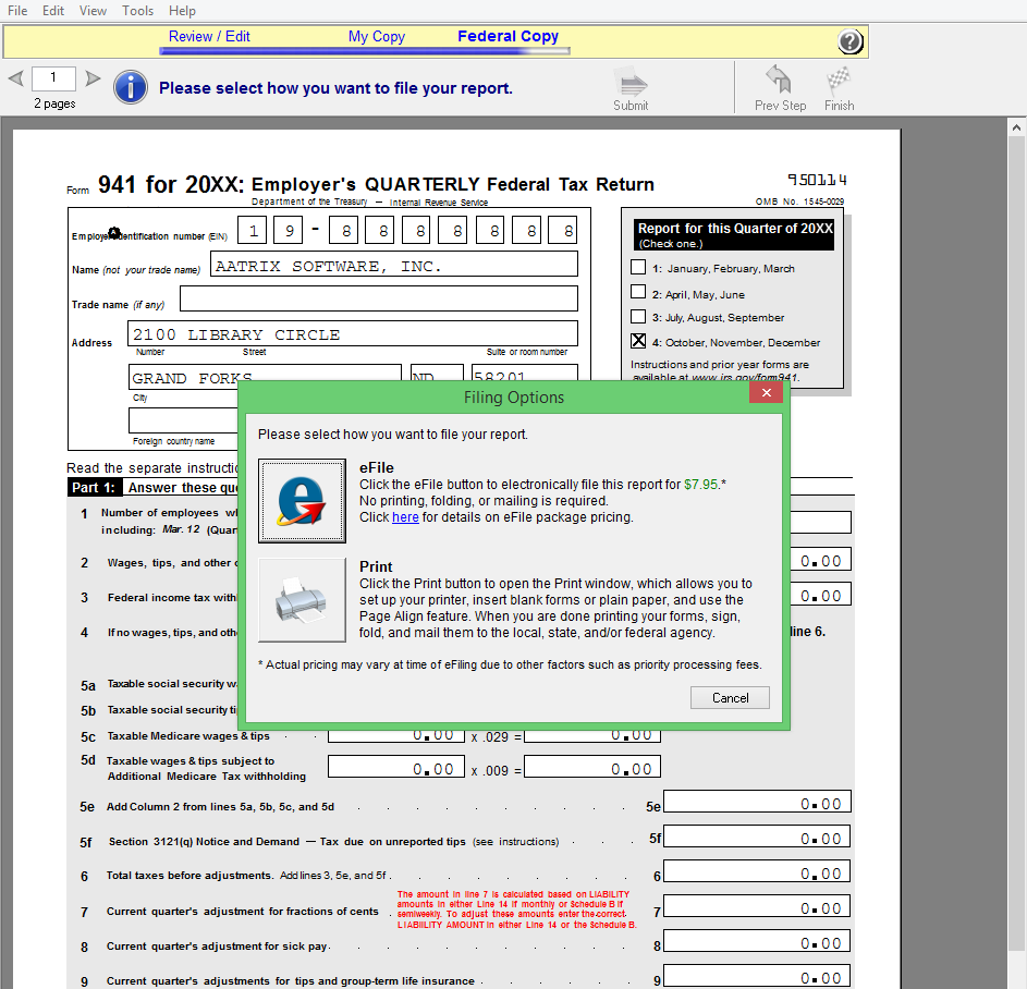 Screen shot for filing options in Efiling by Aatrix