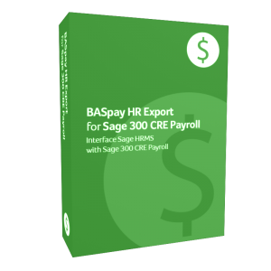 BASpay HR Export for Sage 300 CRE Payroll