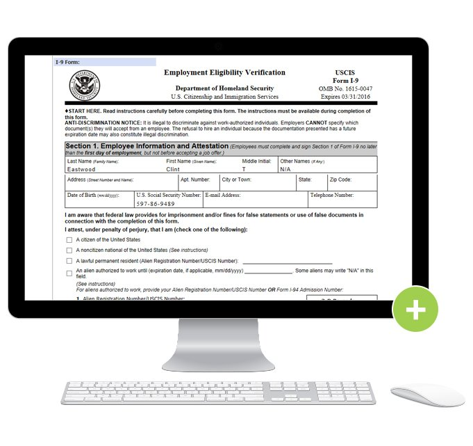 Photo of computer monitor with form I-9 on screen