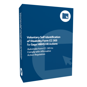 Voluntary Self-Identification of Disability Form CC-305 for Sage HRMS HR Actions
