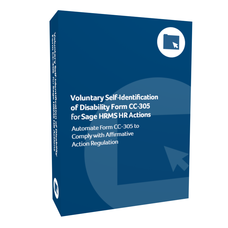 product box for Voluntary Self-Identification of Disability Form C C-305 for Sage H R M S H R Actions