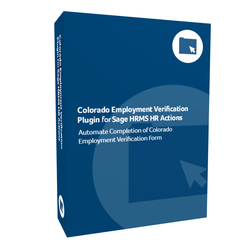 product box for Colorado Employment Verification Plugin for Sage H R M S H R Actions