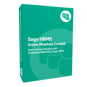 A photo of the green product box for Sage HRMS Active Directory Conduit
