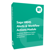 A photo of the green product box for Sage HRMS Alerts & Workflow Actions Module