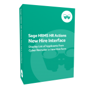 product box for Sage H R M S H R Actions New Hire Interface