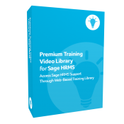 Product box for Premium Training Video Library for Sage H R M S