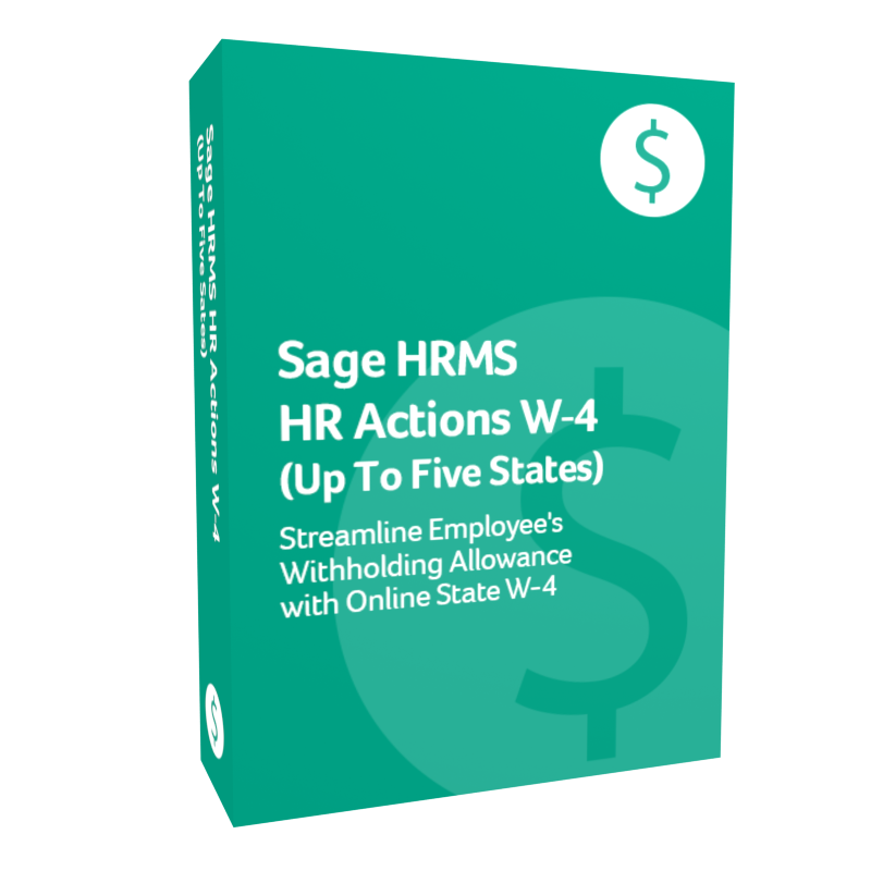 Sage HR M S H R Actions W-4 additional states product box