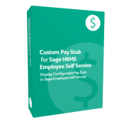 prodcut box for Custom Pay Stub for Sage H R M S Employee Self Service