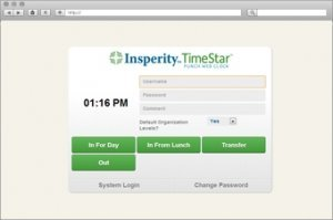 Screen shot of page in computer program TimeStar by Insperity