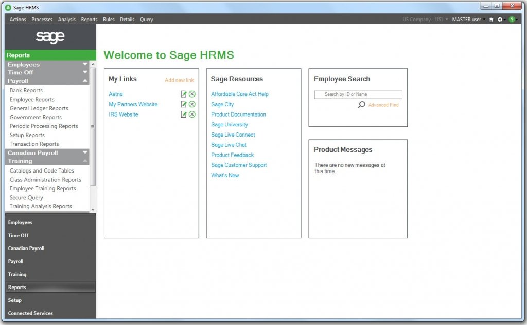Screen shot Sage HRMS 2016 new welcome page