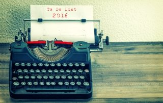 """Typewriter with """"To do list 2016"""" typed on white paper"""