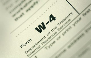 Close-up of W-4 tax form