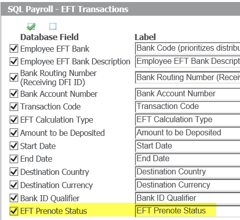Screen shot of Sage Payroll EFT Transactions screen with