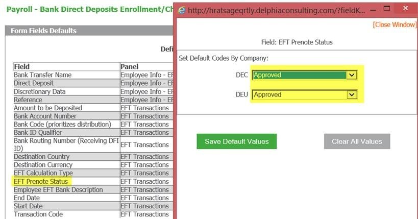 screen shot showing drop-down list for setting default for Prenote in Sage HRMS Payroll Form Fields Defaults