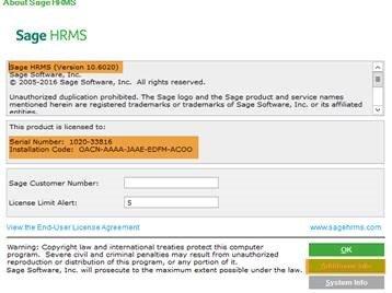 Sage HRMS screenshot showing