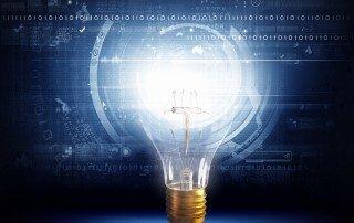 Photo of bright light bulb, symbol of ideas
