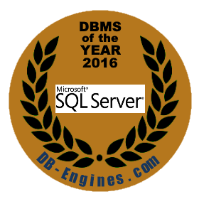 Image of seal for DB-Engines' Database Management System of the Year 2016 award give to Microsoft SQL Server