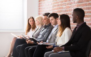 Closeup view of diverse group of job applicants
