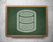Image of database icon in white on green chalkboard