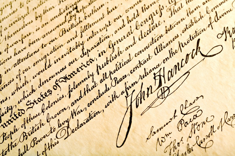 Close-up photo of John Hancock's signature on the Declaration of Independence