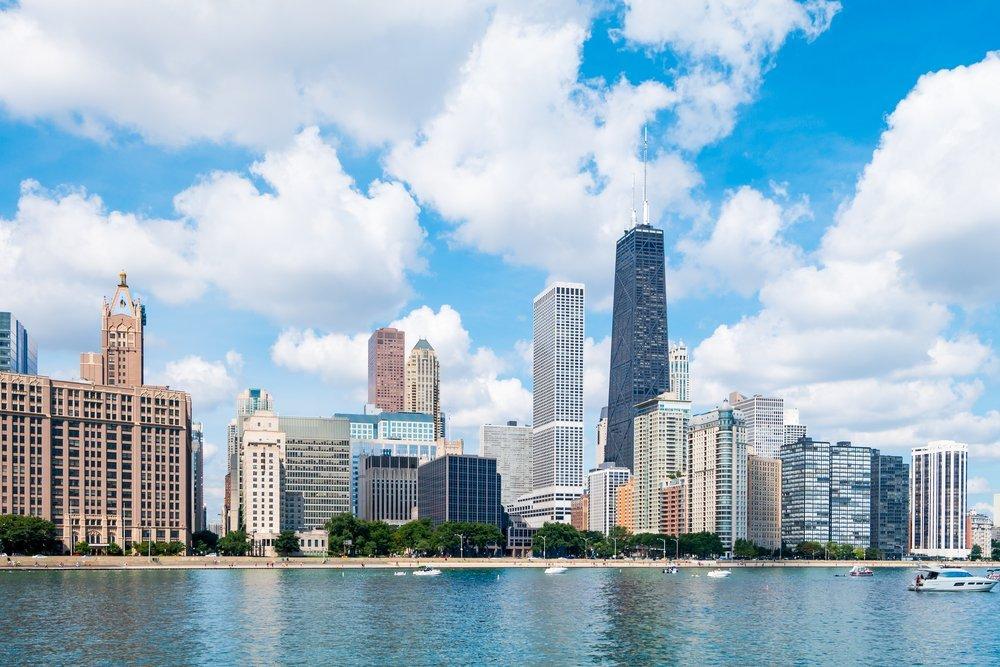 Photo of Chicago's skyline along Lake Michigan