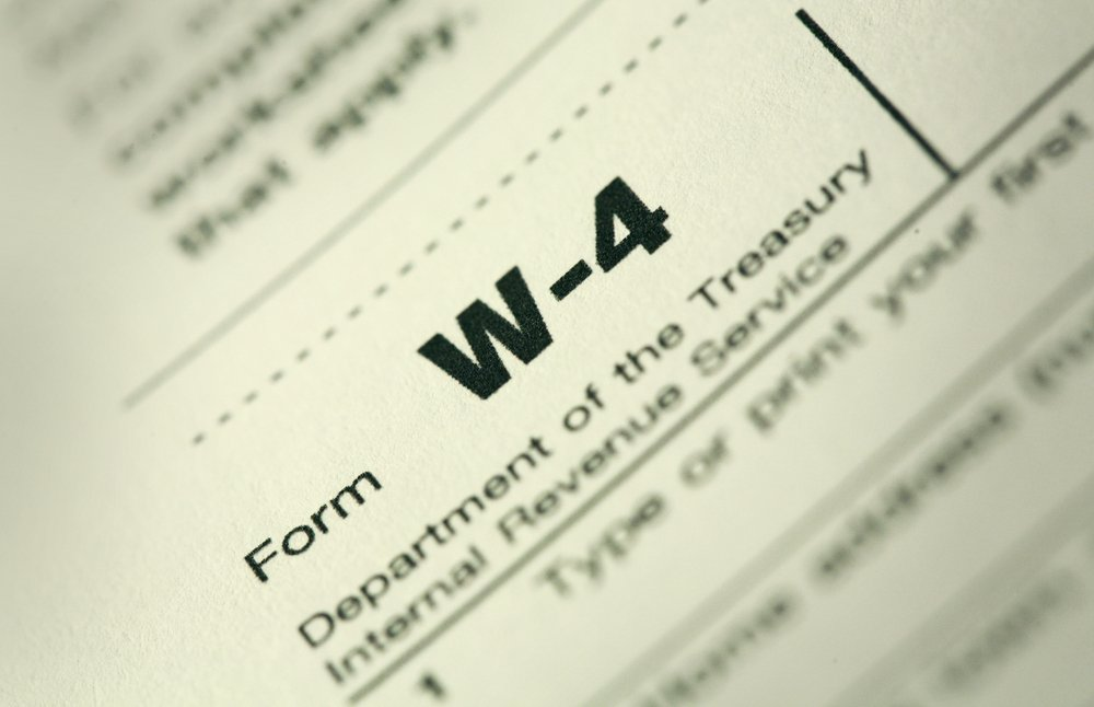 close up of federal W-4 form