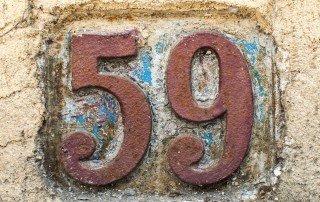 "Old metal house number ""59"""