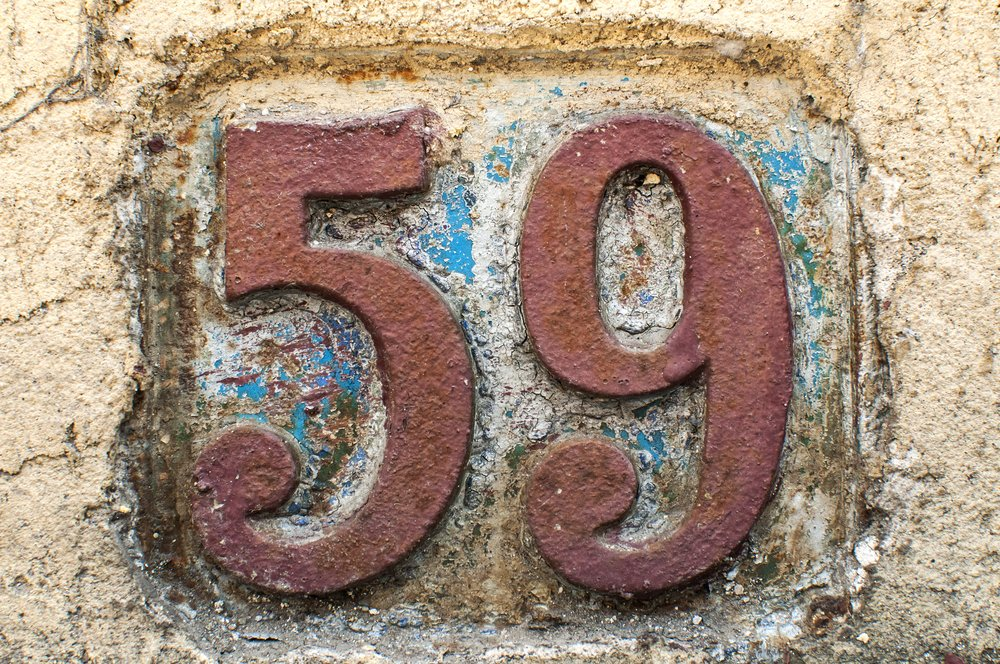 "Old metal house number ""59"""