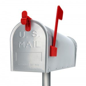 Silver mailbox with bright red flag and clasp