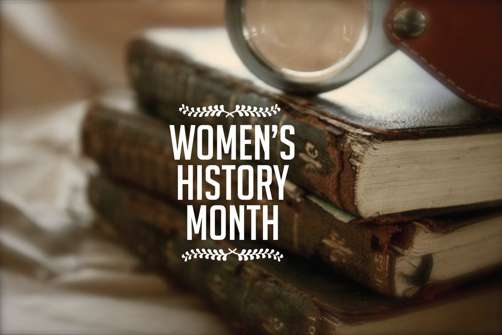 """Words """"Women's History Month"""" with background of antique books"""