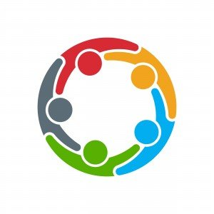 colorful icon of people locking arms in a circle