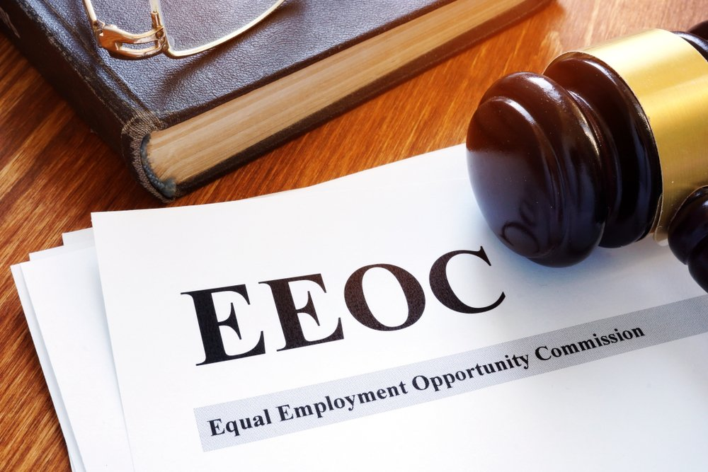 """Gavel resting on paper with """"EEOC"""" Header"""