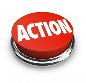 "Red button with ""ACTION"" written in white"